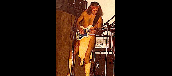 Phil, playing with the Apaches. With one of his first self-made guitars